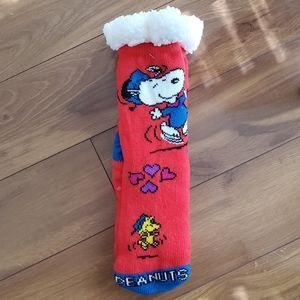 Peanuts Snoopy Woodstock Sherpa NonSlip Socks